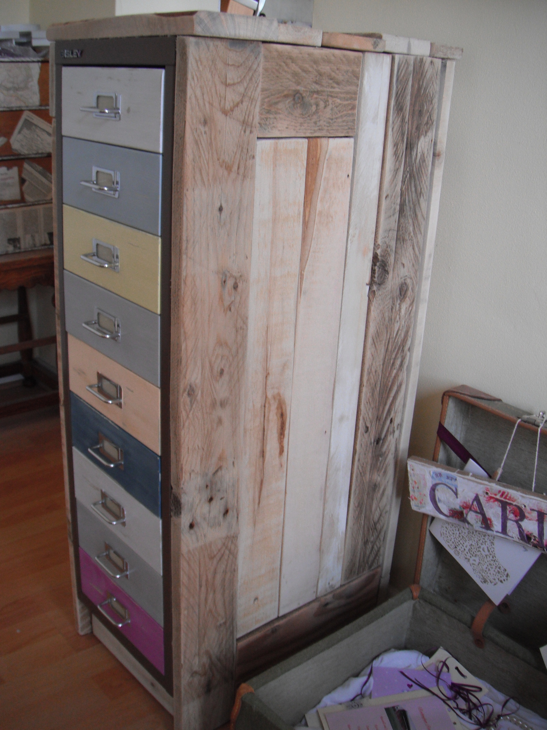 Beau Wendy   A Retro Filing Cabinet With Reclaimed Pallet Wood Top And Hand  Painted Drawers